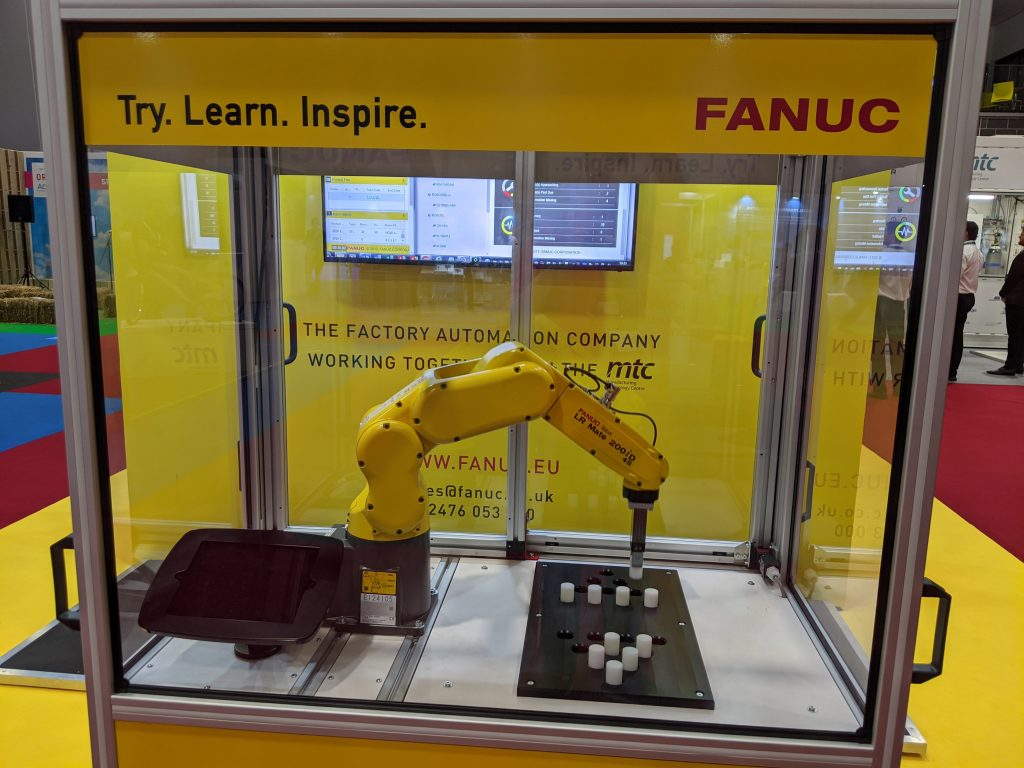 A robotic arm at the Smart Factory Expo